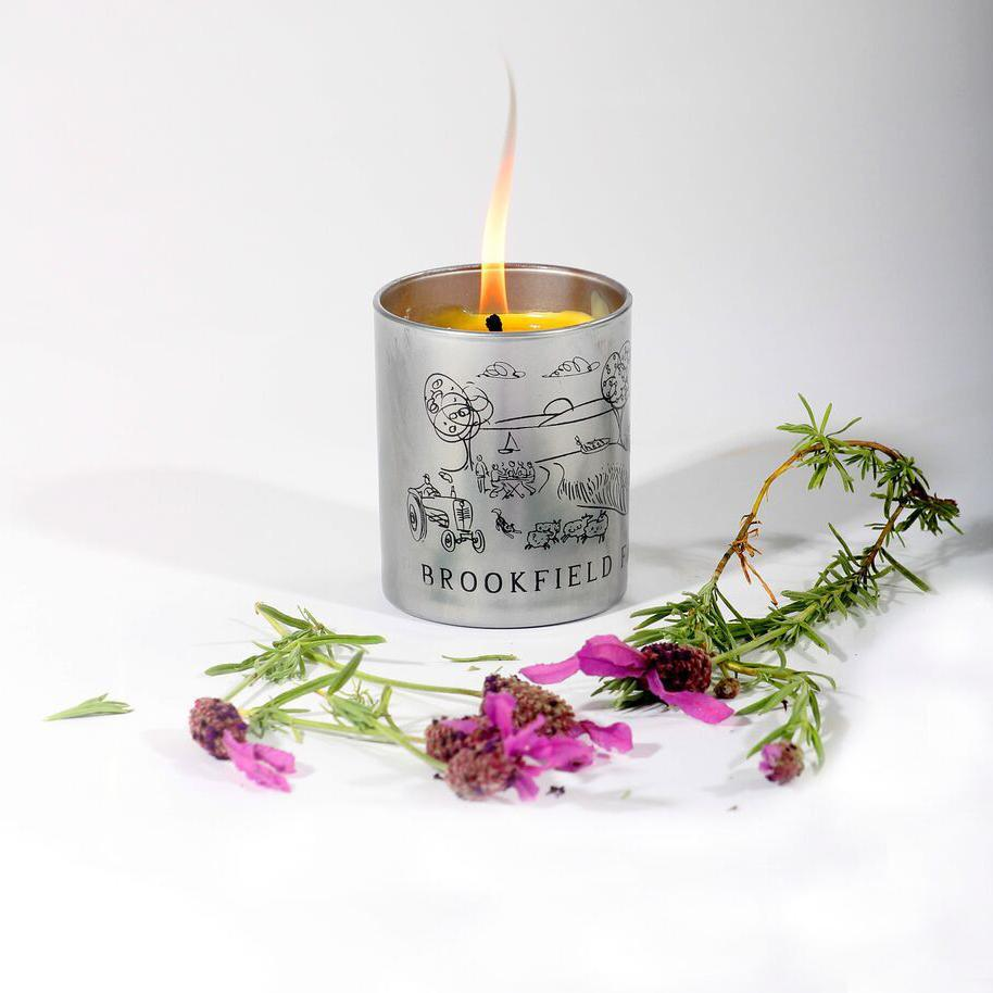 Handpoured Beeswax Candle in Printed Glass - Brookfield Farm