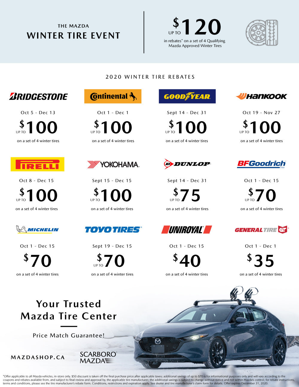 MazdaShop Winter Tire Rebates List 2020