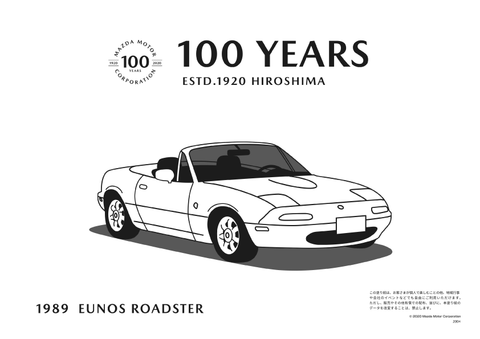 Mazda 100 Years MX-5 Eunos Roadster Colouring Sheet