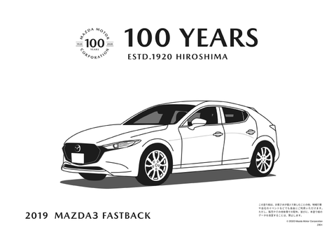 Mazda 100 Years Mazda3 Sport Colouring Sheet
