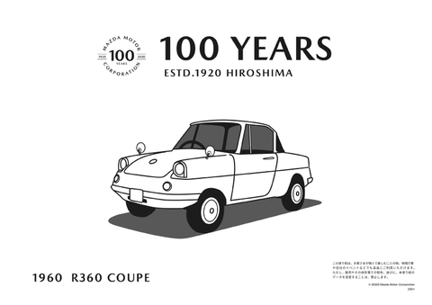 Mazda 100 Years R360 Coupe Colouring Sheet