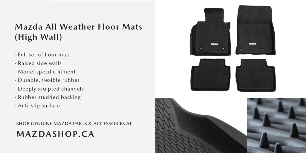 MazdaShop - Mazda All Weather Floor Mats High Wall Design and Features