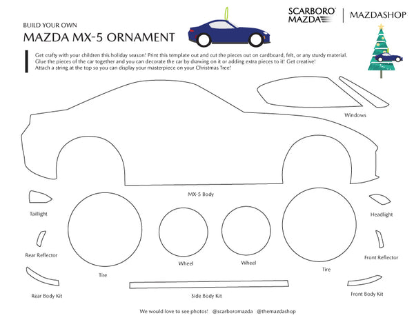 MazdaShop Mazda MX-5 Miata Christmas Ornament Template Printable