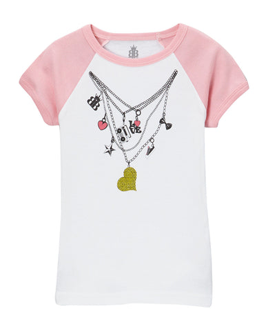 Gwen Charm Necklace Raglan Tee