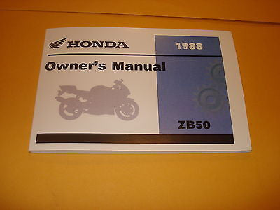 Honda ZB50 ZB 50 Owners Manual 1988