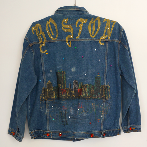 Vintage Handmade Boston Cityscape Denim Jacket.