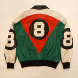 "Vintage Red, white and Green Leather ""8 Ball"" Jacket By Michael Hoban"