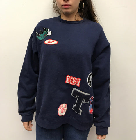 Navy Blue Patch Sweater