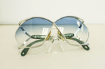 Vintage Genuine Christian Dior Silver Green Blue  Butterfly lenses