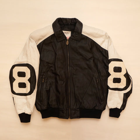 "Vintage Black & White Leather ""8 Ball"" Jacket By Michael Hoban"