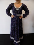 Vintage Dark Blue Floral Prairie Dress