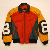 "Vintage Yellow, Red and Green Leather ""8 Ball"" Jacket By Phase 2"