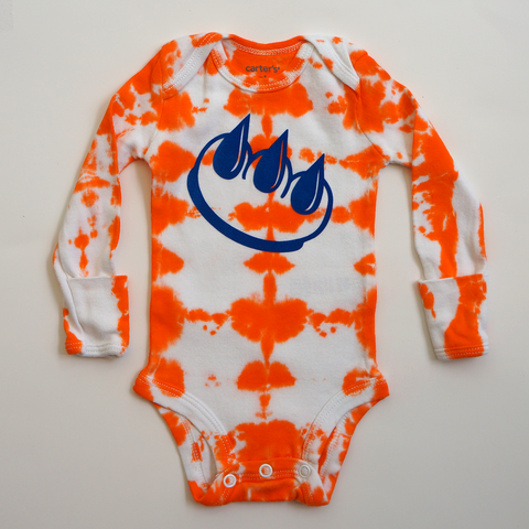 Claw Money orange tie dye baby onesie