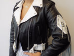 Black & White Fringe Leather Jacket