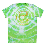 GIVE A DAMN VOTE X CLAW GREEN & ORANGE TIE DYE TEE