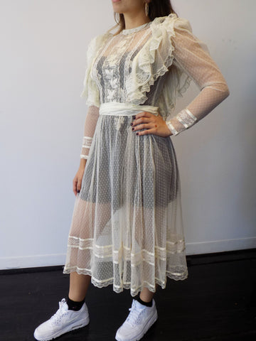 Ivory Lace see - thru Dress