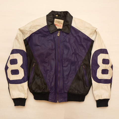 "Vintage Purple and Black Leather ""8 Ball"" Jacket By Michael Hoban"