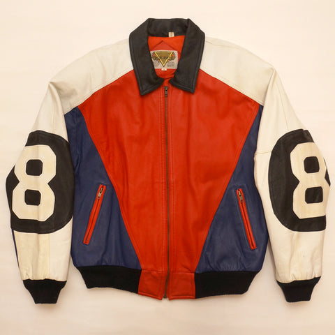 "Vintage Red, White and Blue  Leather ""8 Ball"" Jacket By Phase 2"