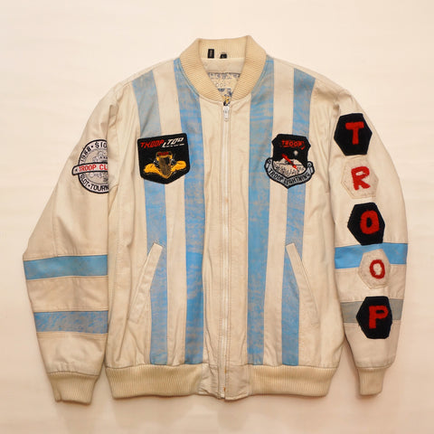 "Vintage ""ALPHA TROOP ALPHA"" (Baby Blue & White) Leather Troop Jacket"