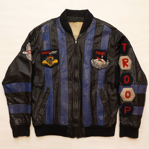 "Vintage ""ALPHA TROOP ALPHA"" (Blue & Black) Leather Troop Jacket"