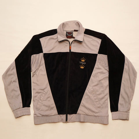Vintage 1980's Troop Track Jacket Grey & Black