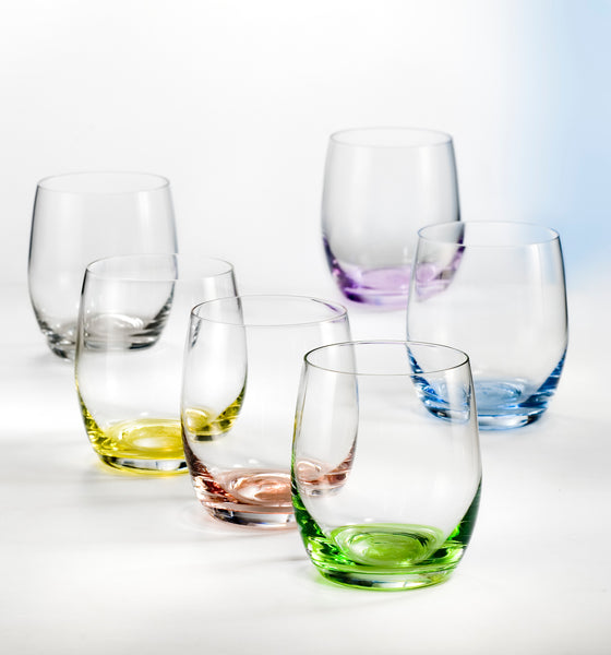 "Bohemia Crystal ""Rainbow"" Colored Tumbler Glasses, Set of 6 - available for sale at http://www.wineohh.com 