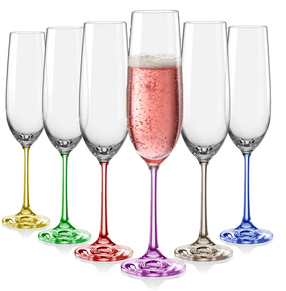 "Bohemia Crystal ""Rainbow"" Colored Champagne Flutes, Set of 6"