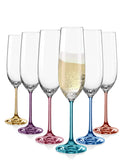 "Bohemia Crystal ""Rainbow Spectrum"" Colored Crystal Champagne Flutes, Set of 6"