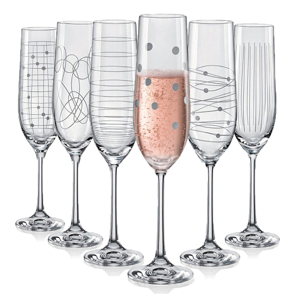 "Bohemia Crystal ""Elements"" Etched Champagne Flutes, Set of 6"