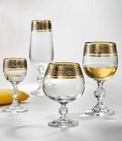 "Bohemia Crystal ""Claudia"" Gold Rim Celebration Set - 24 pcs - available for sale at http://www.wineohh.com 