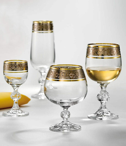 "Bohemia Crystal ""Claudia"" Gold Rim Celebration Set - 24 pcs"