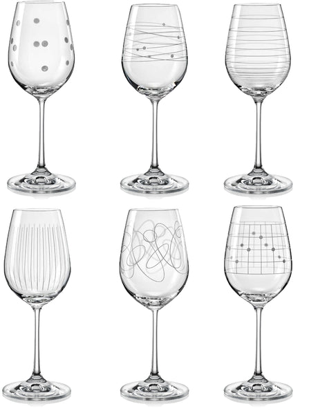 "Bohemia Crystal ""Elements"" Etched Wine Glasses, Set of 6 - available for sale at http://www.wineohh.com 