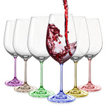 "Bohemia Crystal ""Rainbow"" Colored Wine Glasses, Set of 6"