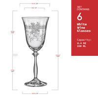 "Bohemia Crystal ""Royal Angela""  Crystal White Wine Glasses (Set of 6)"