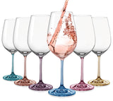 "Bohemia Crystal ""Rainbow Spectrum "" Colored Crystal Wine Glasses, Set of 6"