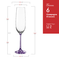"Bohemia Crystal ""Rainbow Spectrum"" Colored Crystal Champagne Flutes, Set of 6 - available for sale at http://www.wineohh.com 