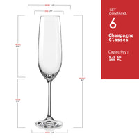 "Bohemia Crystal ""Viola"" Champagne Flutes, Set of 6"