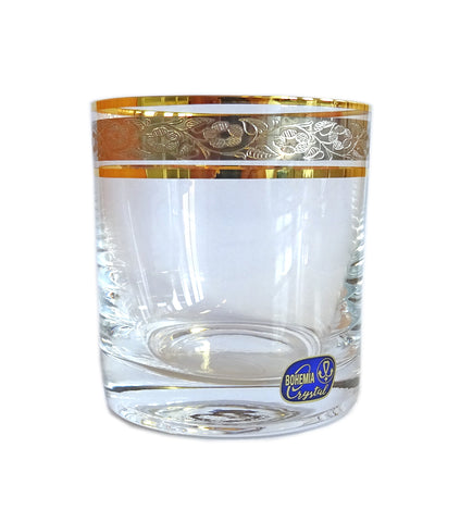 "Bohemia Crystal ""Claudia"" Gold Rim Whiskey Glasses - Set of 6 - available for sale at http://www.wineohh.com 