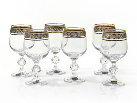 "Bohemia Crystal ""Claudia"" Gold Rim Wine Glasses - Set of 6 - available for sale at http://www.wineohh.com 