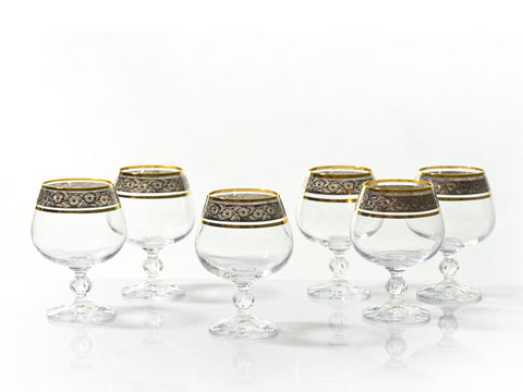 "Bohemia Crystal ""Claudia"" Gold Rim Cognac Glasses - Set of 6"