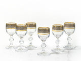 "Bohemia Crystal ""Claudia"" Gold Rim Liqueur Glasses - Set of 6 - available for sale at http://www.wineohh.com 
