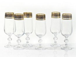 "Bohemia Crystal ""Claudia"" Decorated Champagne Flutes - Set of 6"