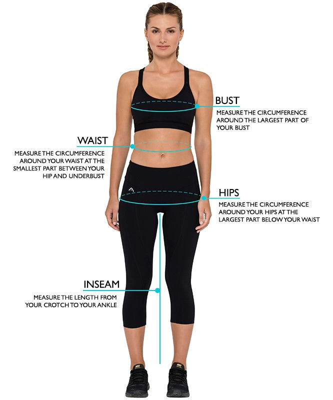 activewear product sizing chart image