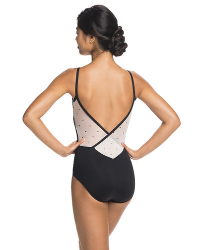 Ainsliewear 136PD - Allegra Polka Dot Mesh Cross Back Camisole Leotard Womens - Dancewear - Bodysuits & Leotards - Dancewear Centre Canada