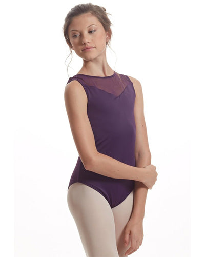 Audition Dancewear Carla Mesh Back Insert Recycled Fabric Sleeveless Leotard - Womens - Dancewear - Bodysuits & Leotards - Dancewear Centre Canada