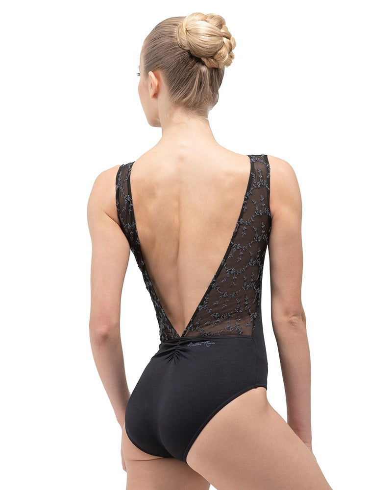 Ballet Rosa Antonia Low V-Back Embroidered Mesh Panel Tank Leotard - Womens - Dancewear - Bodysuits & Leotards - Dancewear Centre Canada