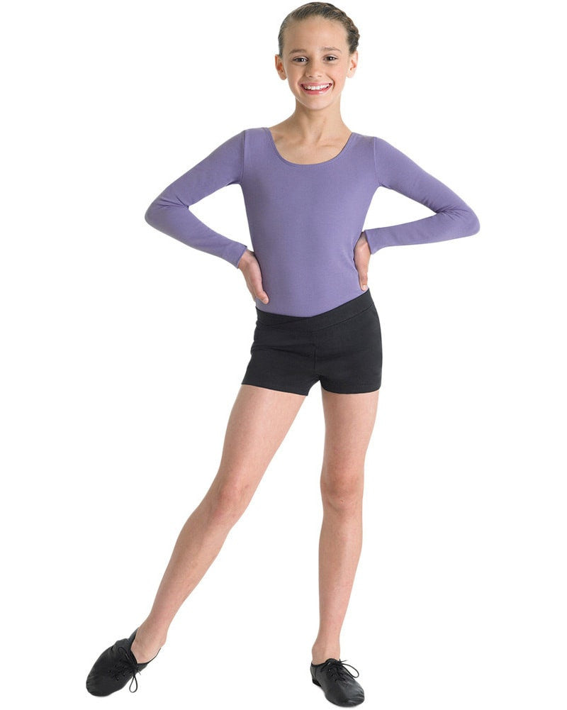 Bloch Arabesque Cotton V-Waist Dance Shorts - CR3644 Girls - Dancewear - Bottoms - Dancewear Centre Canada
