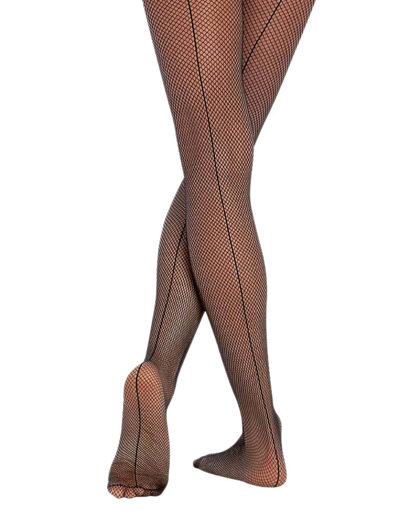 Body Wrappers Back Seamed Fishnet Dance Tights - A62 Womens