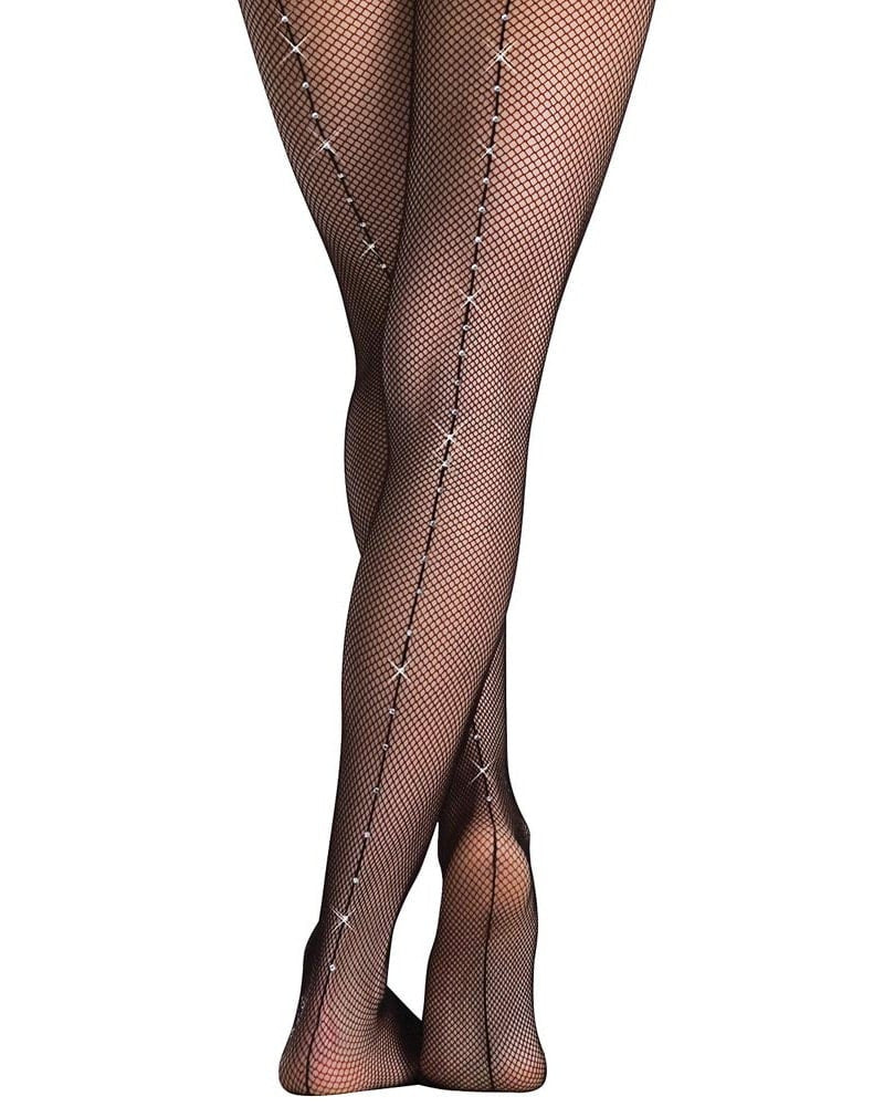 Body Wrappers A64  - Rhinestone Fishnet Dance Tights Womens