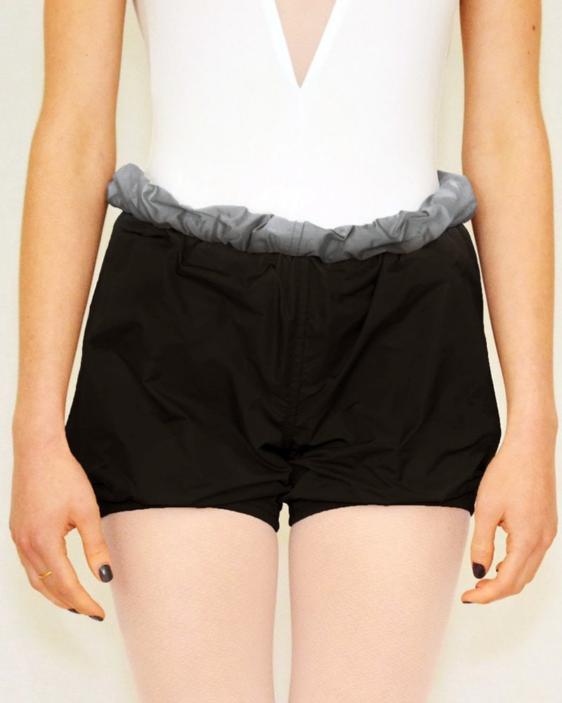 Bullet Pointe Ripstop Reversible Warmup Dance Shorts - Womens - Black/Grey - Dancewear - Bottoms - Dancewear Centre Canada